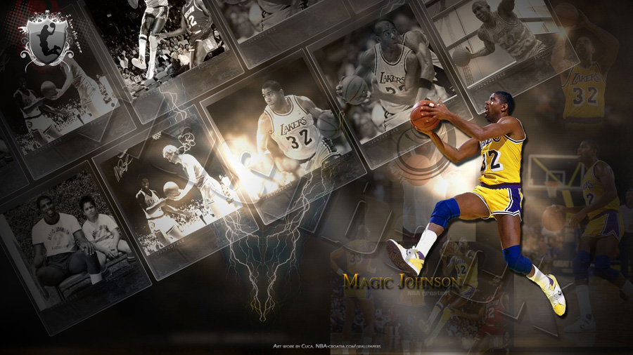 Magic Johnson LA Lakers Widescreen Wallpaper
