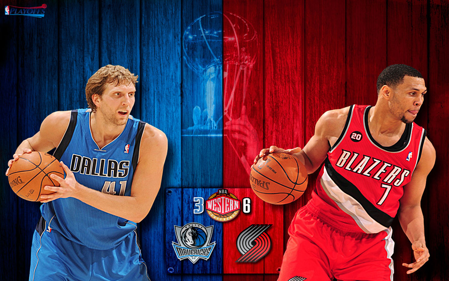 Mavericks vs Blazers 2011 NBA Playoffs Widescreen Wallpaper