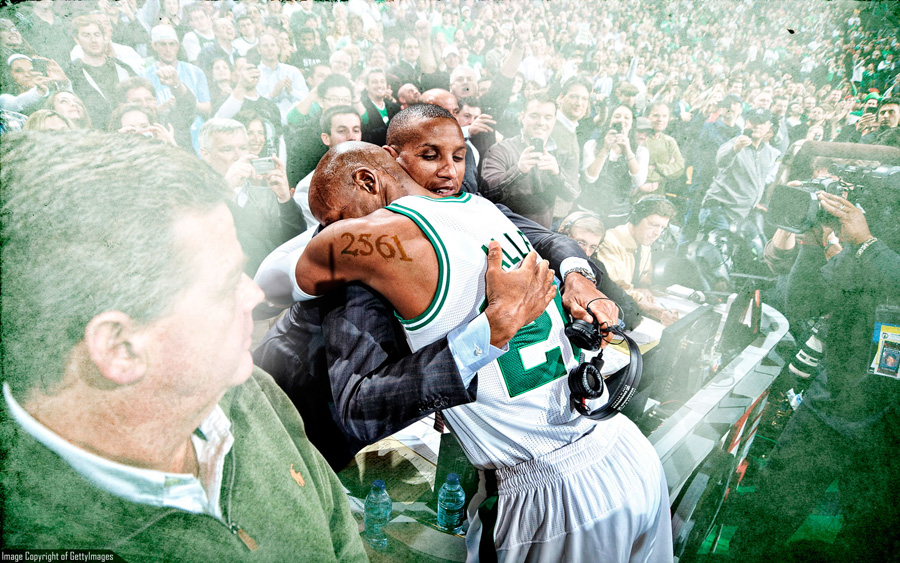 Ray Allen And Reggie Miller Record Moment Wallpaper
