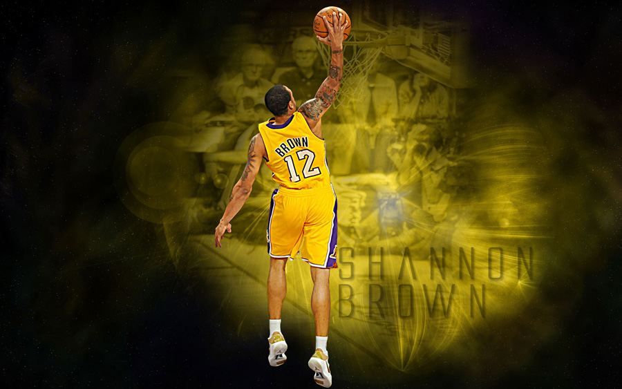 Shannon Brown LA Lakers Dunk Widescreen Wallpaper