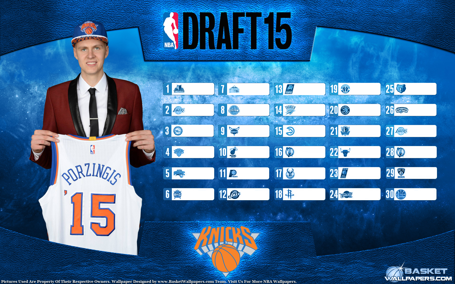 Kristaps Porzingis Knicks 2015 NBA Draft Wallpaper