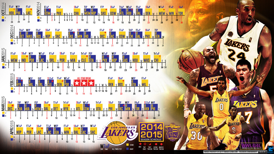 LA Lakers 2014-2015 Schedule Wallpaper