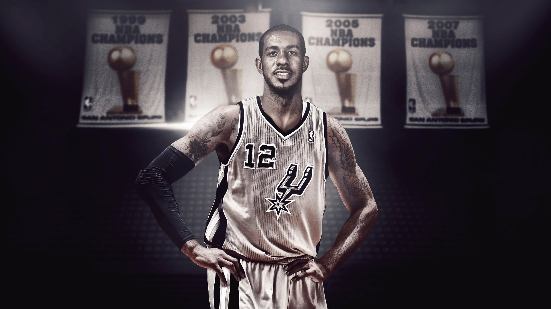 LaMarcus Aldridge Spurs Banners Wallpaper