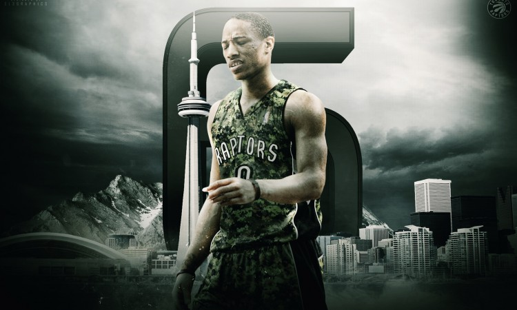DeMar DeRozan 2015 Raptors Army Jersey Wallpaper