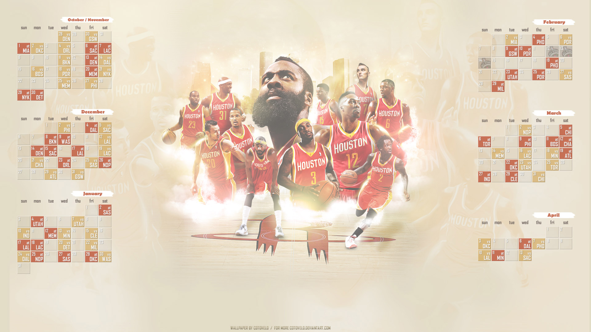 Houston Rockets Schedule 2015-2016 Wallpaper