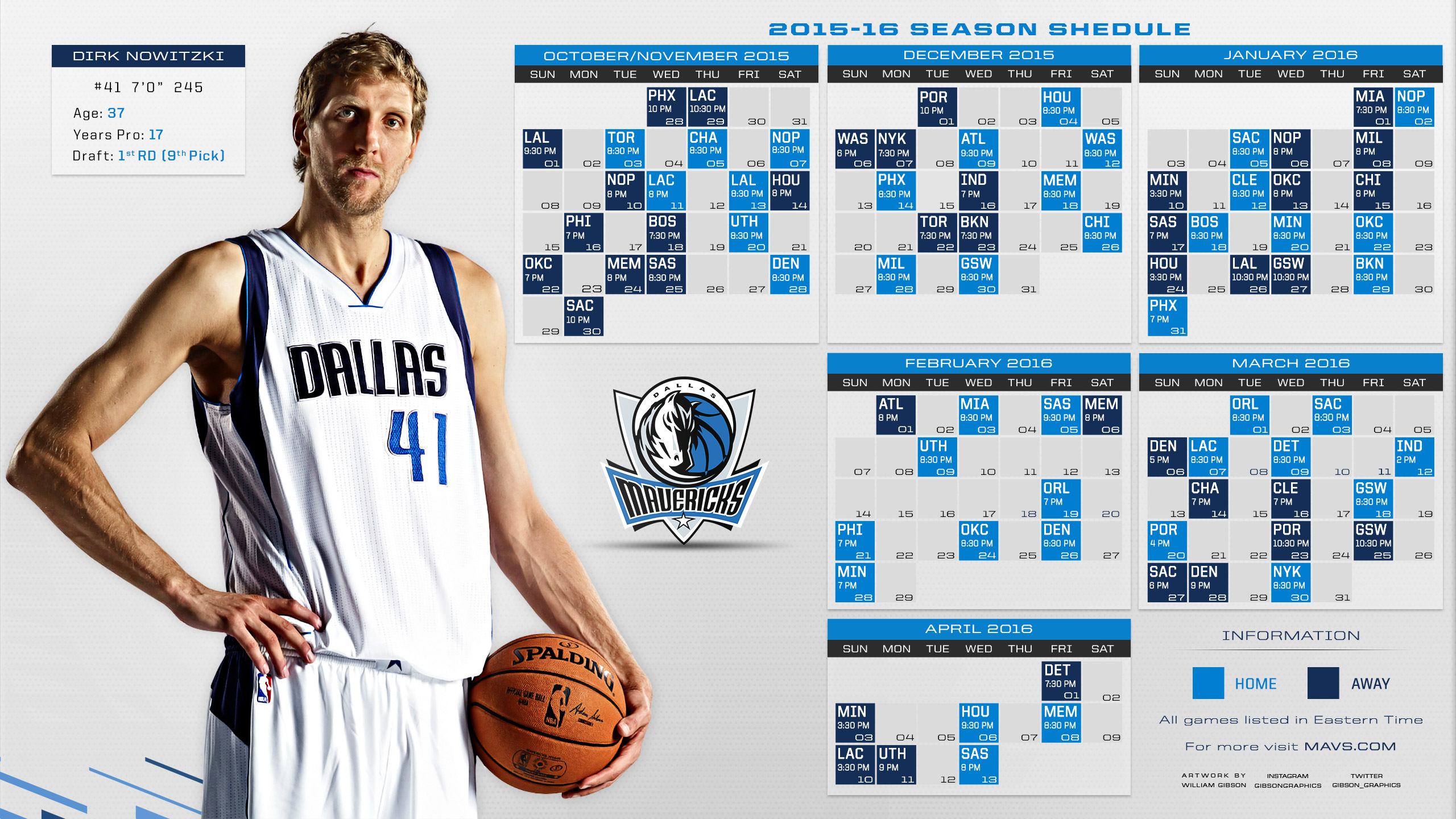 Dallas Mavericks 2015-2016 Schedule Wallpaper