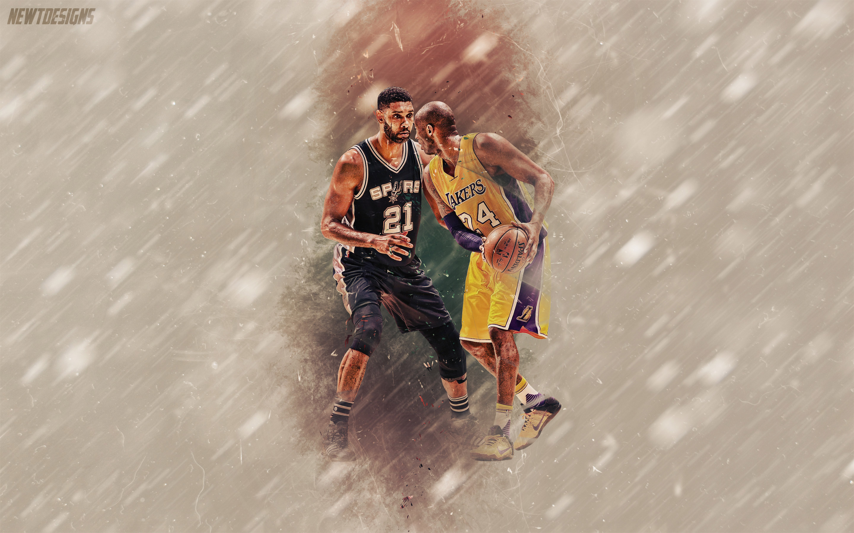 Kobe Bryant and Tim Duncan One Last Time 2880x1800 Wallpaper