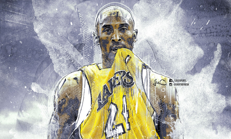 Kobe Bryant Lakers Grunge Brushes Wallpaper