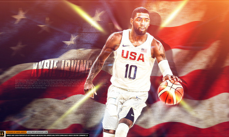 Kyrie Irving USA Flag and Team 1920x1080 Wallpaper